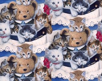 Multi Kitten's & Teddy Bear Digitally Printed David Textiles #7124 By the Yard