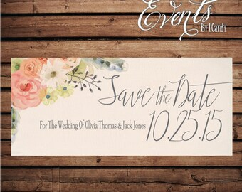 Wedding Save-the-Date Printed Postcard - floral with peach, coral, blush