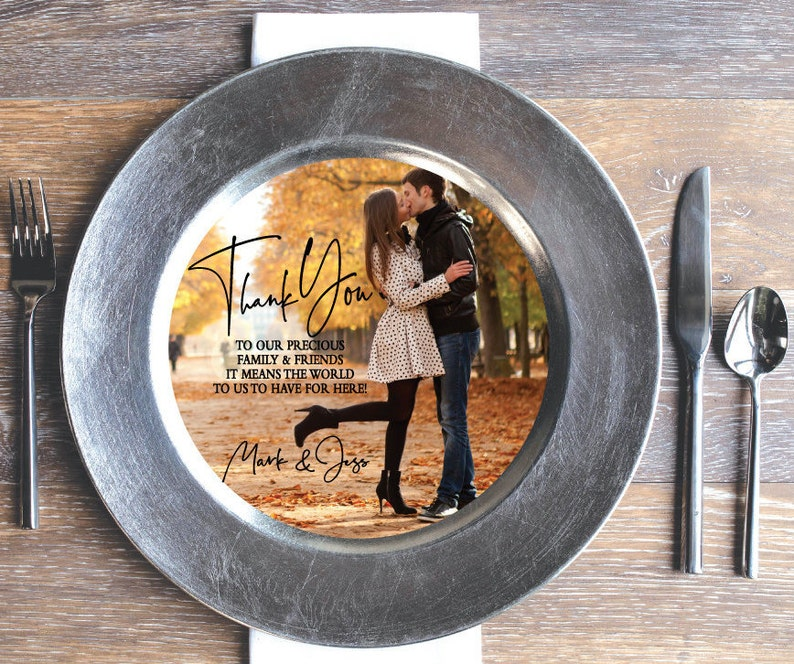 Printed Thank You Photo Insert That Fits On A Plate Or Charger Etsy