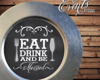 Chalkboard Like Let's Eat vintage Insert that fits on a  Plate or Charger