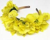 Sale Yellow Alstroemeria Flower Crown Headband