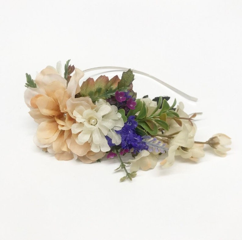 Side Ivory and Lavender Headband with Greenery