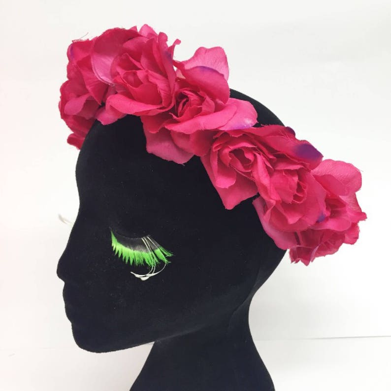 Dead Stock Sale! Bright Pink Rose Flower Crown Halo