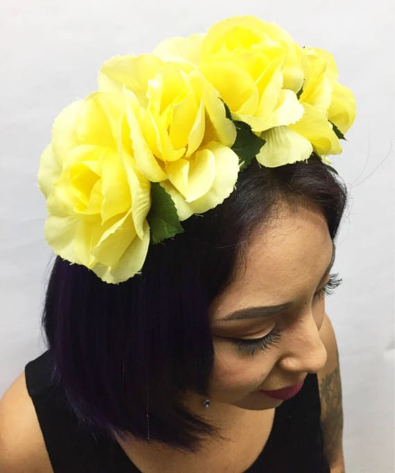 Yellow Rose Flower Headband with Leaves  3c4bc302b4e