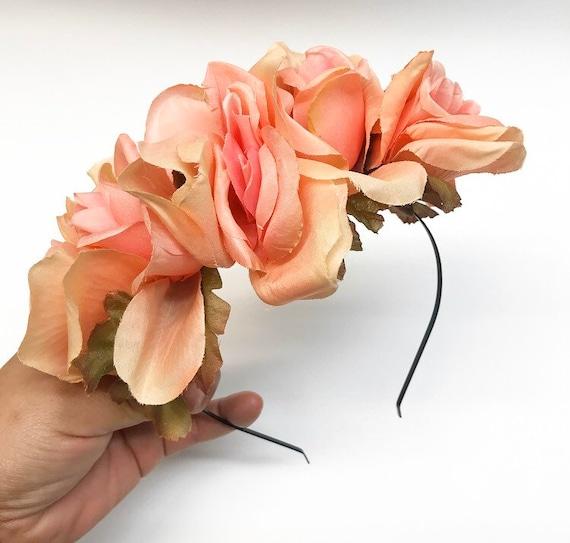 Peach Rose Frida Inspired Flower Crown Headband