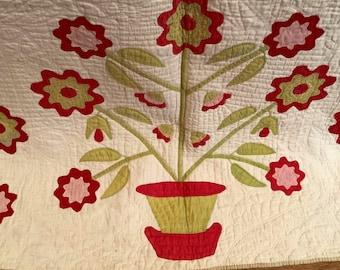 Quilt - c.1850 Appliqué Flower Pots Quilt Fabulous work