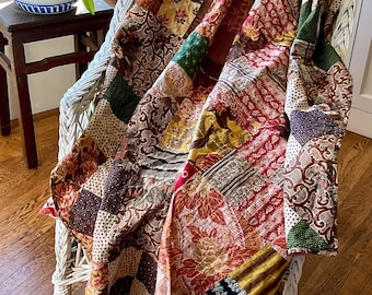 Quilt Chintz and Calico fest!! w 4-poster bed cutouts c1850 ~ Brilliant!