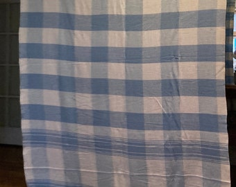"""Vintage blue and white blanket huge 68""""x72"""""""