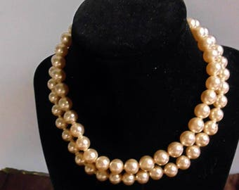 """Vintage Faux Pearl 2-Strand Necklace, 15"""""""