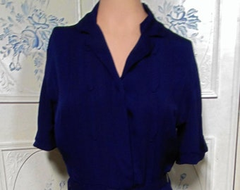Vintage 1950 Navy Blue Dress by Devonshire Jr., Bust 38""
