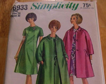 Simplicity Vintage Dress and Coat pattern, #6933, Size 16, Bust 36