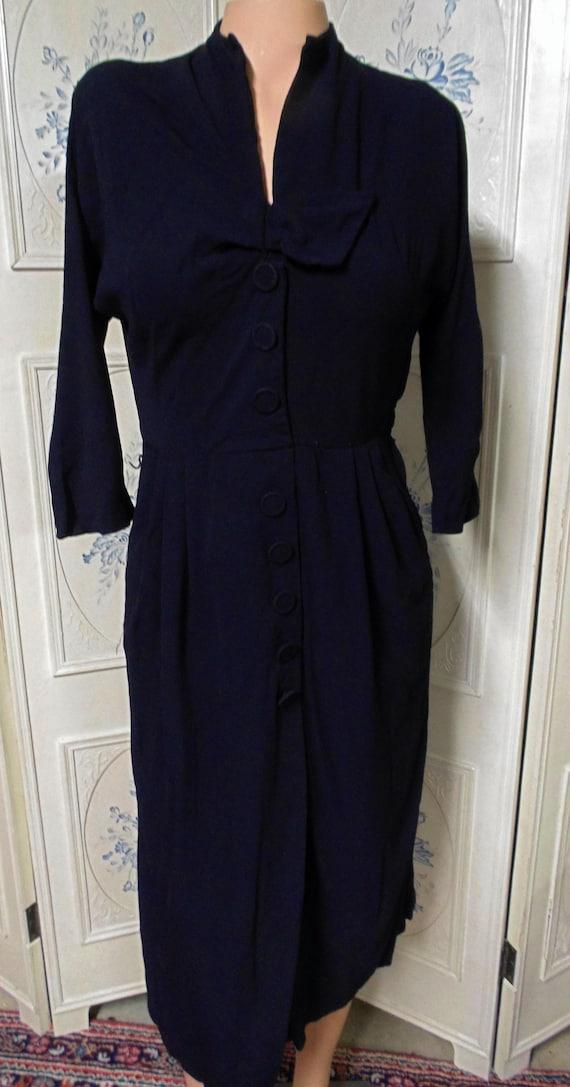 "1940 Black Dress, Bust 36"", Pleated at Waist, Zips"
