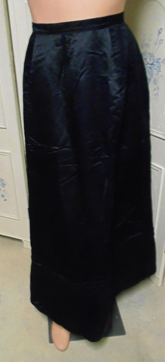 "Victorian Black Skirt, Waist 27"", Satin"
