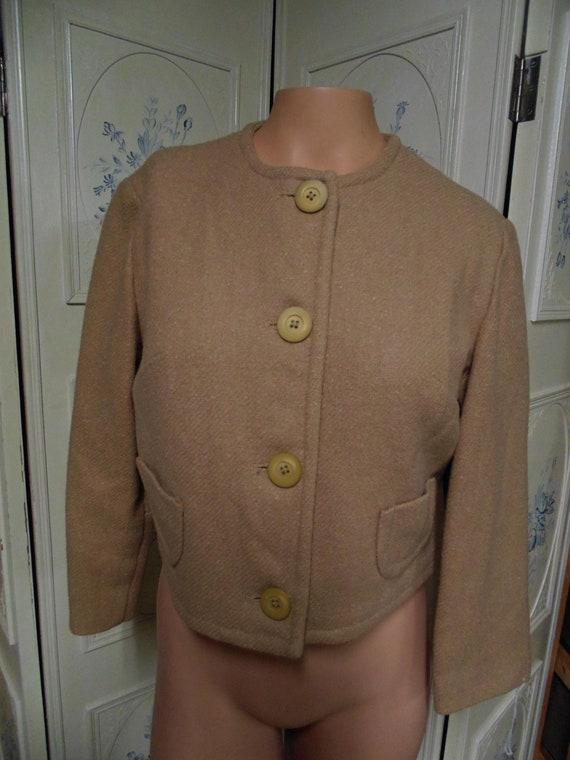 "Vintage Beige Wool 2 Piece Suit, Bust 38"""