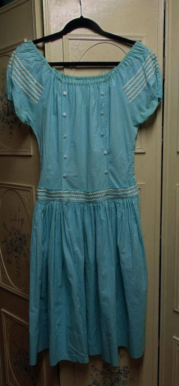 1940 Turquoise Dress, Off the Shoulder, Bust 37""