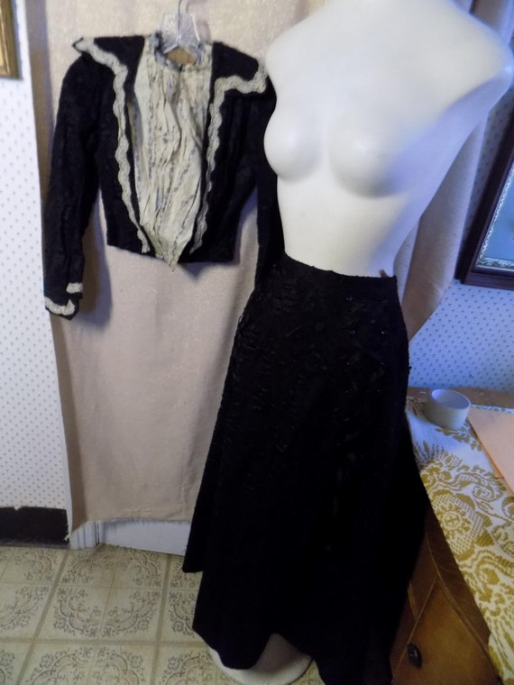 Victorian Black and White Bodice and Black Skirt