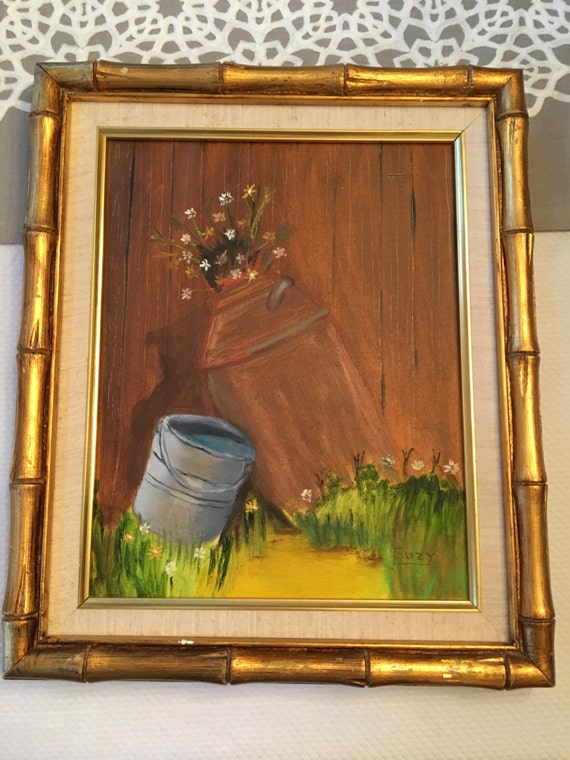 Vintage Gold Bamboo Frame with Linen Mat with milk can