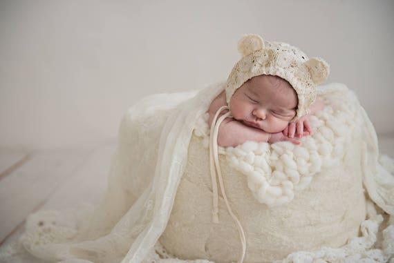 newborn girl bear hat newborn photo prop newborn bonnet  816a7bd2e1ab