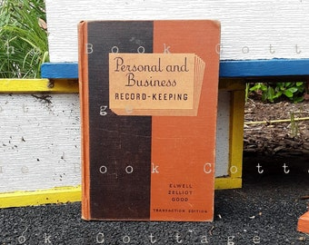 1930s Office Book - Personal and Business Record Keeping, Orange Hardcover Book, Accounting Book Secretary Gift Office Assistant Book Black