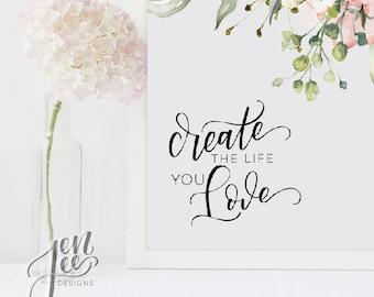 motivational wall decor -create the life you love - motivational poster -wall art