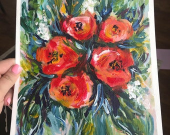 Abstract floral art - original floral painting
