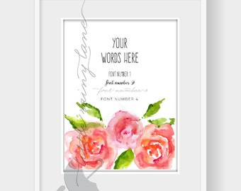 Custom Quote Print with watercolor flowers, Custom Quote Print, Personalized Custom Quote, Custom Typography Quote
