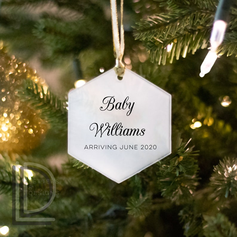 New Baby Ornament  Baby Announcement  Custom Glass Ornament image 0