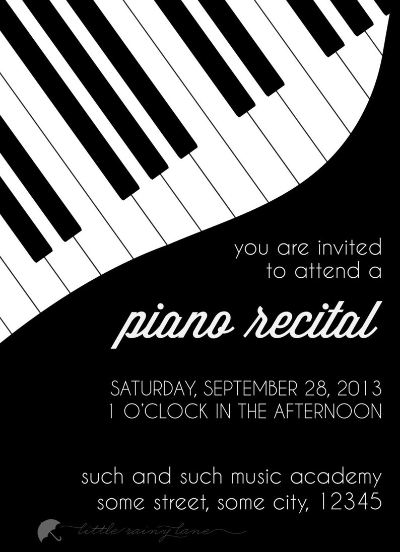 Piano Recital Invitation Custom Etsy