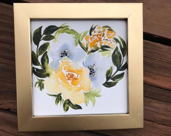Watercolor Valentine Painting - floral valentine