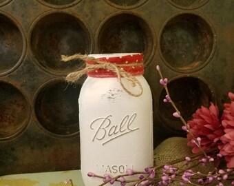 Valentine's Day Decor, Valentine's Day Decorations, Painted Mason Jars, Rustic Decor, Rustic Jars, Painted Jars, Red Polka Dots