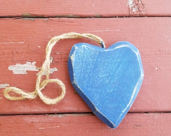 Wooden Heart //Blue rustic wooden heart