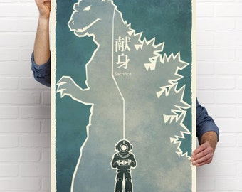 "Godzilla 1954 ""sacrifice"" 24x36 movie poster signed"