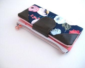 Womens Wallet clutch Wallet Credit card wallet Minimalist  wallet eco-friendly Vegan Cork Wallet Zipper wallet Snap wallet Navy Floral