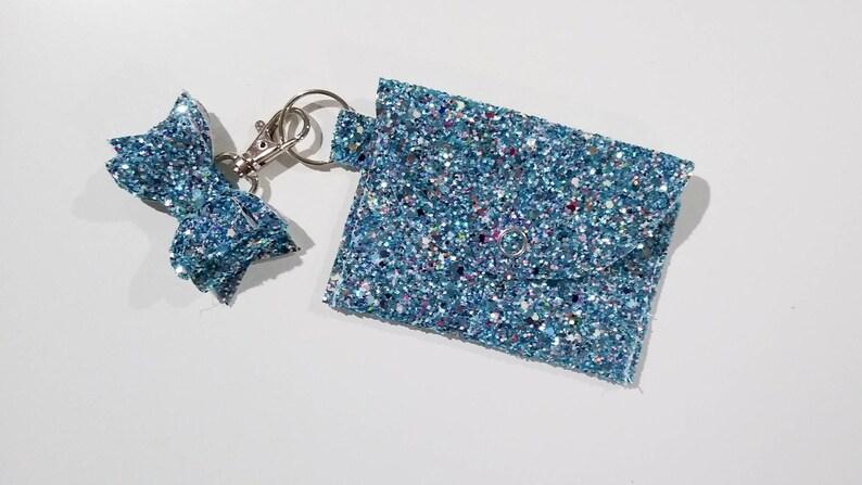 Key chain card holder card pouch key fob mini pouch card holder credit card keychain business card case blue sparkle keyring