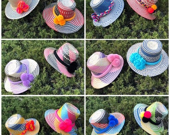 c3b05072 New pom pom Straw Hat summer hat Formal Hat/ Wide Brim Straw Hat/ Beach pom-poms  Hat/ Sun Hats/ Womens hats