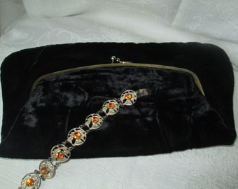 Vintage Ingber Purse, Black Velvet, Fold Over Formal Black Clutch
