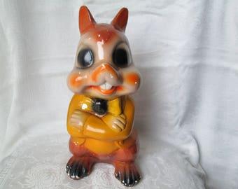 Vintage Carnival Prize Bank, Squirrel/Chipmunk Chalkware Bank, Anthropomorphic