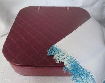 Vintage Handkerchief Box, Quilted Storage Box, 1950s