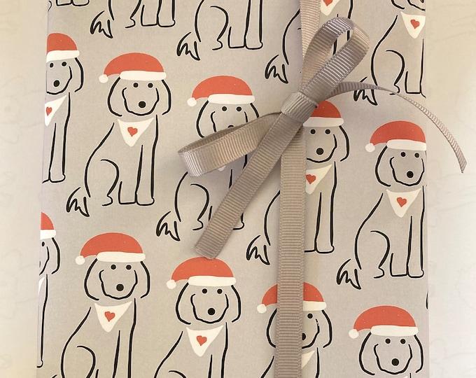 Christmas A3 giftwrap - spoodle dog on grey