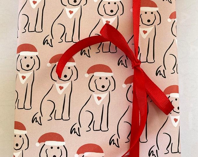 Christmas A3 giftwrap - Spoodle dog