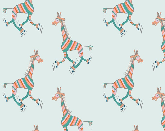 Printable A3 gift wrap - Striped giraffes roller skating on mint - wrapping paper