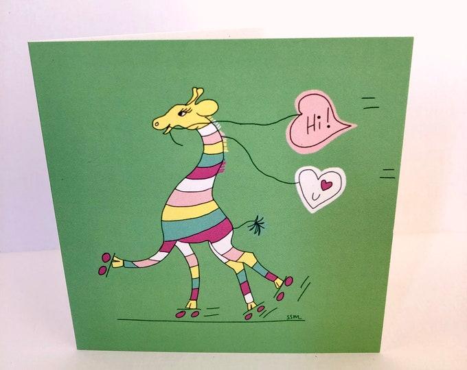 Striped giraffe roller skating, greeting card