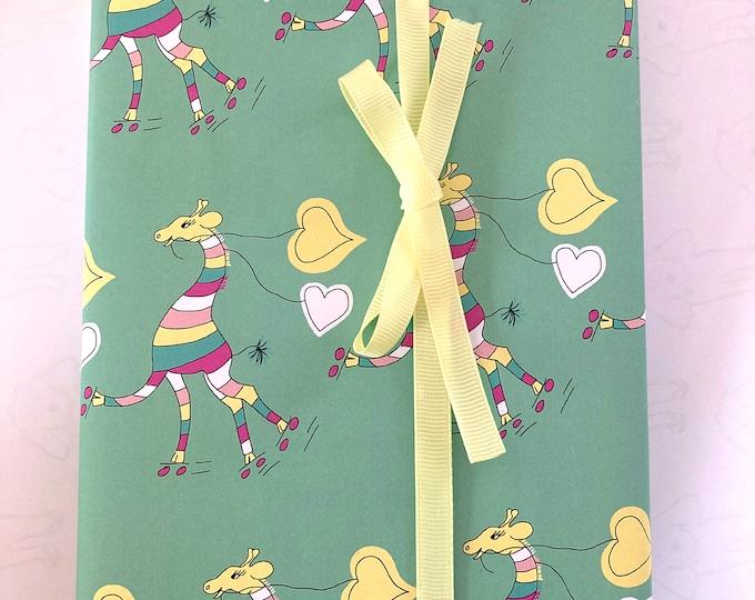 Brightly striped skating giraffe roller skating - green A3 giftwrap
