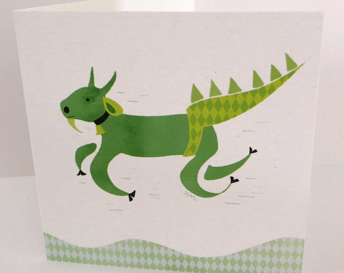 Fast green goat, greeting card