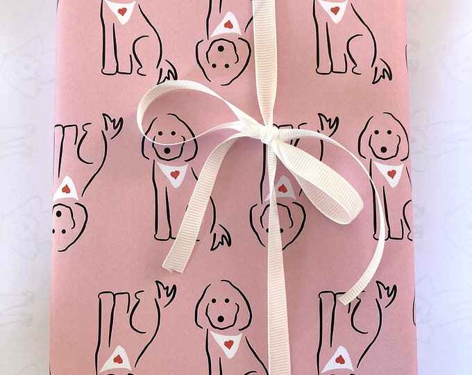 Spoodle dog with hearts on pink - printable A3 gift wrap