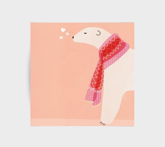 Polar bear with hearts, greeting card