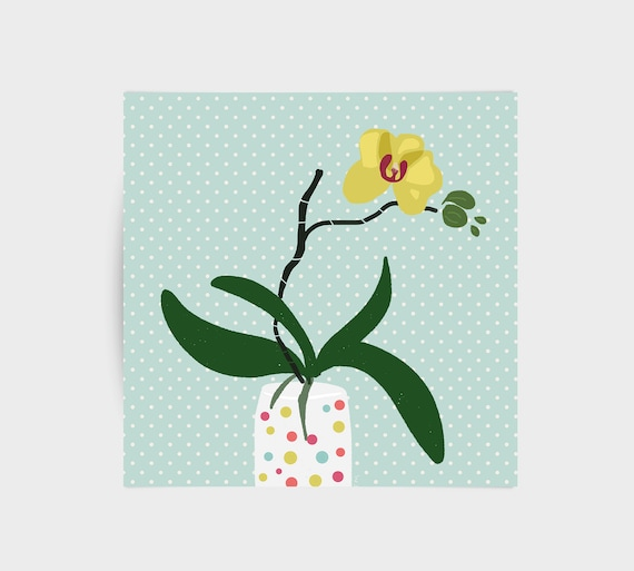 Orchid illustration, greeting card