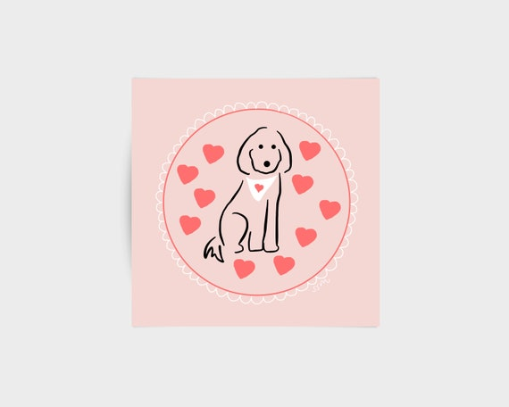 Spoodle dog with hearts on pink, greeting card - for poodle, oodle and dog lovers