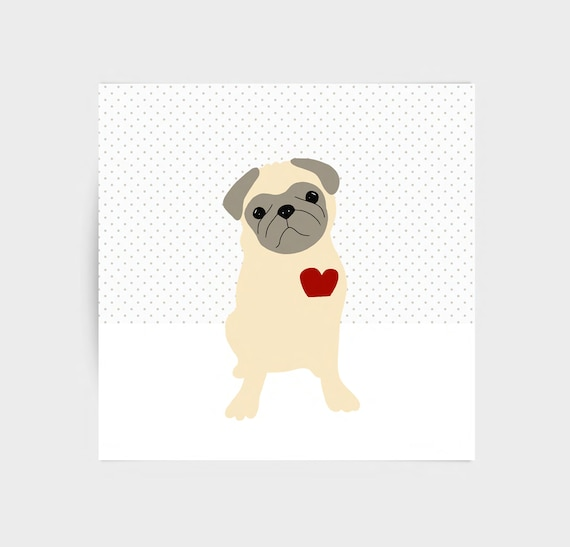 Pug on dots, cute hand drawn blank greeting card for lovers of pug dogs