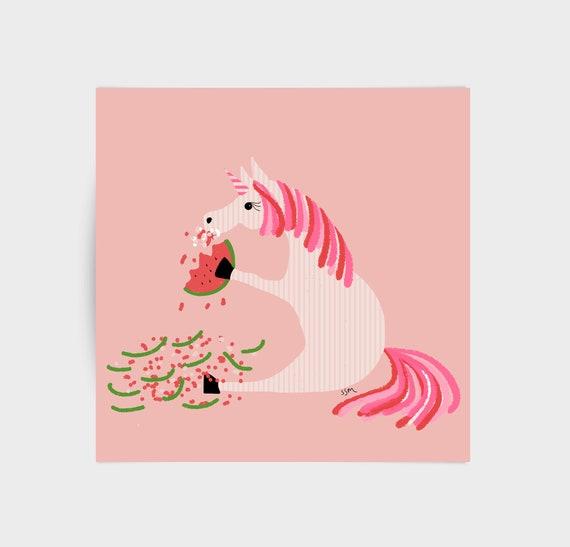 Pin-striped Unicorn eating watermelon, greeting card